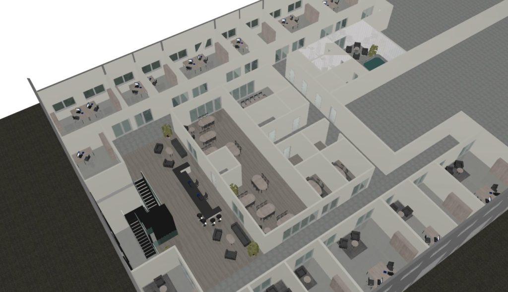 3D ritning av kontorslandskapet Stormen i Borås